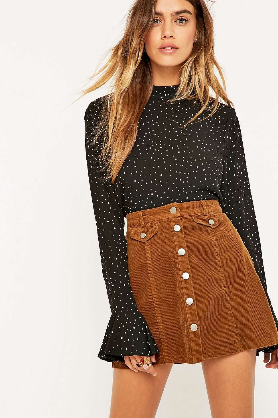d7a4ab0f8f04 Urban Outfitters Button-Front Mink Corduroy Mini Skirt