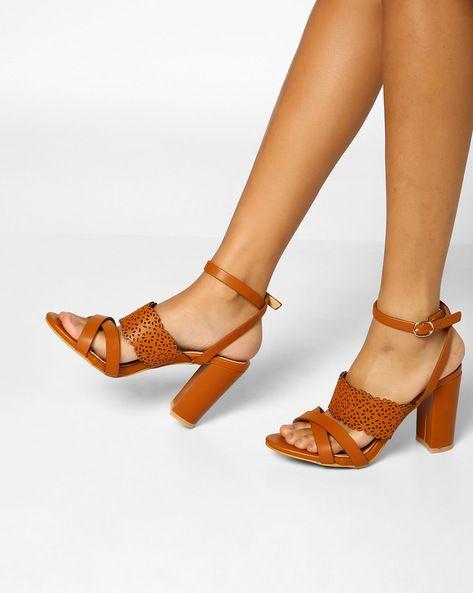 8a9b70d50f AJIO Tan Brown Chunky Heels Laser-Cut Block Heels | heels | Sandals ...