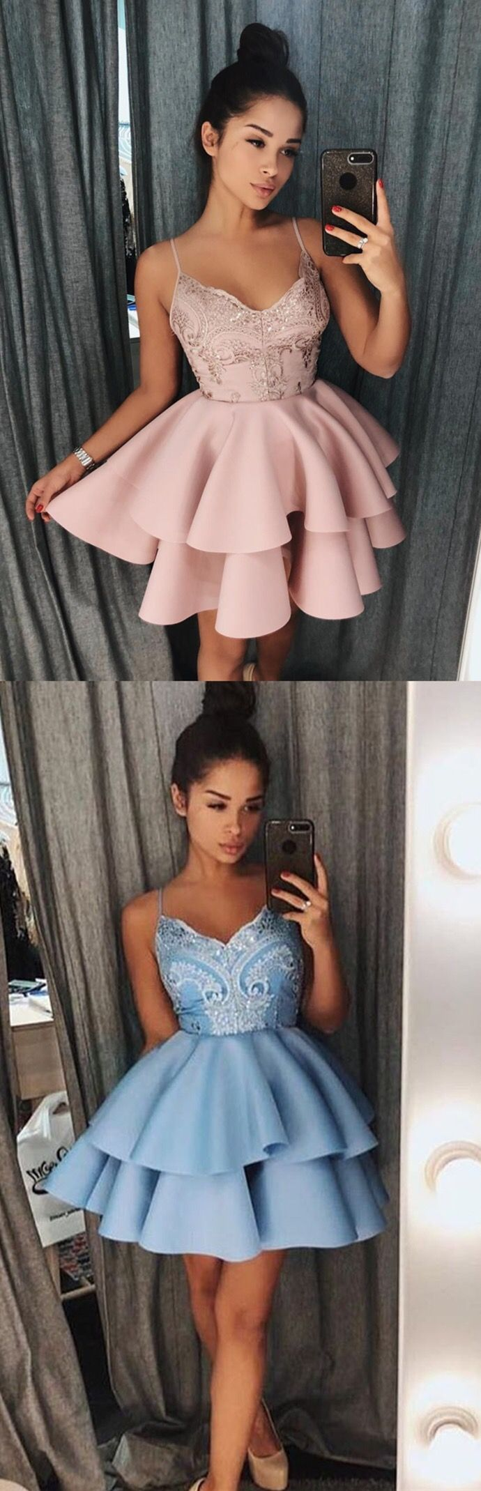 addb6083c59 A-Line Spaghetti Straps White Short Homecoming Prom Dress with ...