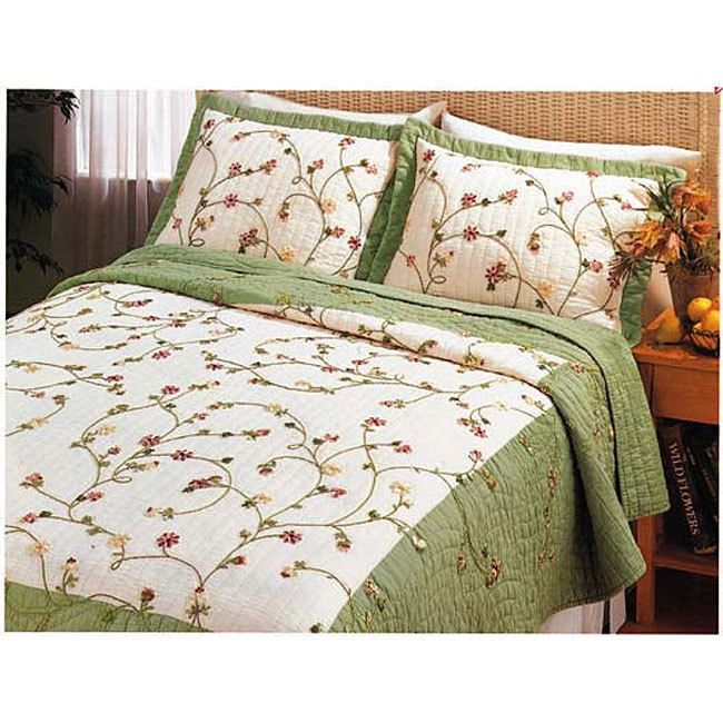 Cassandra Sage & Ivory Full Queen Quilt Set Embroidered Ribbon Floral Sunham #SunhamHomeFashions #FrenchCountry