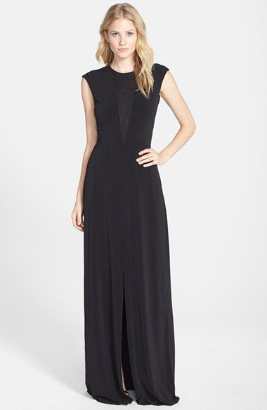 Rachel Zoe Sheer Inset Open Back Jersey Gown available at #Nordstrom