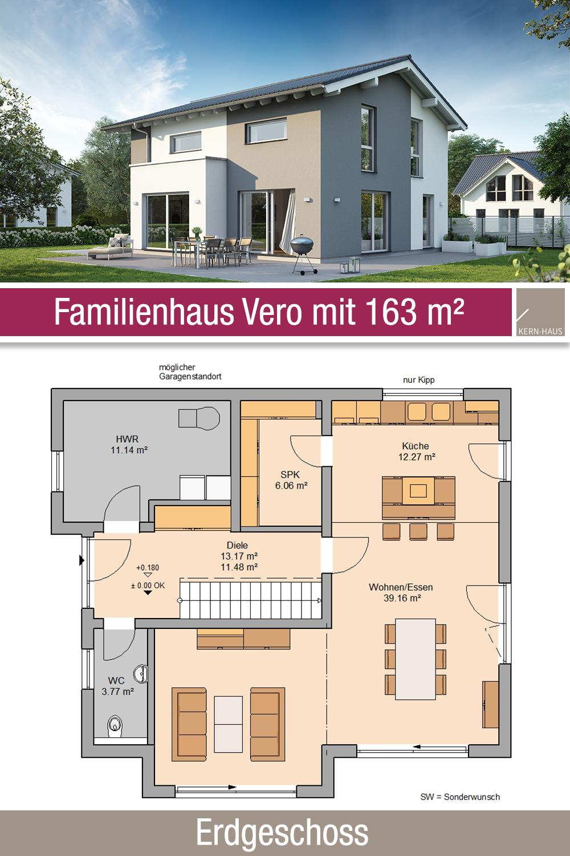 Familienhaus Grundriss 163 m² 5 Zimmer Erdgeschoss