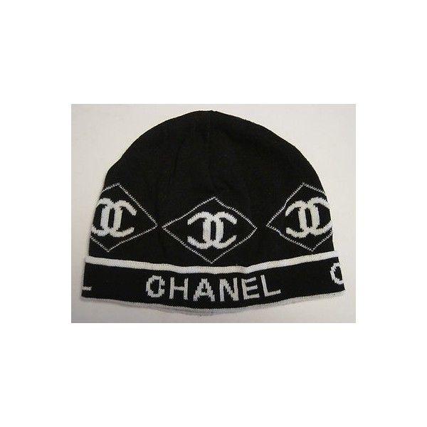 816e765392a Vintage Chanel Womens Knit Hat Black White Beanie Cap Coco Old Estate Sale  Find