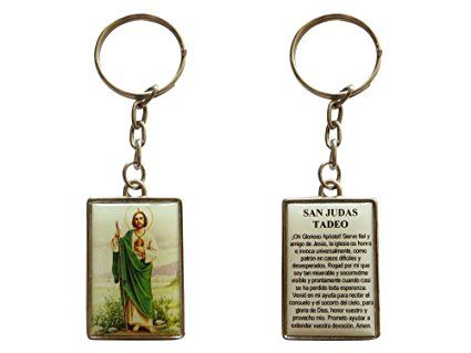 San Judas Tadeo Jude The Apostle Keychain with Spanish Desperate Causes Prayer (Silver-tone)
