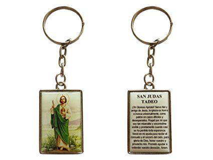 San Judas Tadeo Jude The Apostle Keychain with Spanish Desperate Causes Prayer (Silver-tone)