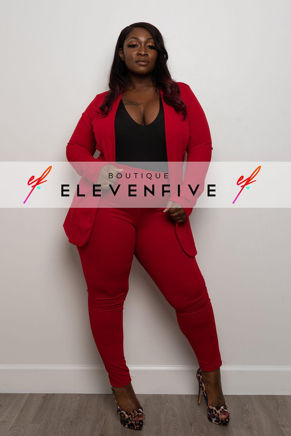 Plus Size Red Pant Suit