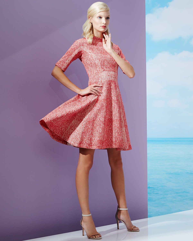 Lela Rose Half-Sleeve Fit-&-Flare Dress, Red | Inspiración ...
