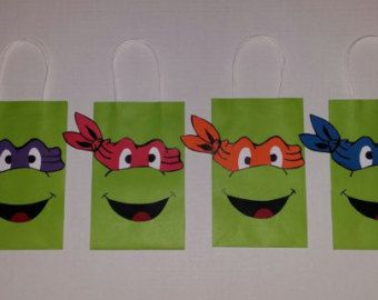 TMNT Teenage Mutant Ninja Turtles Party Favor Gift/Goodie Bags ...