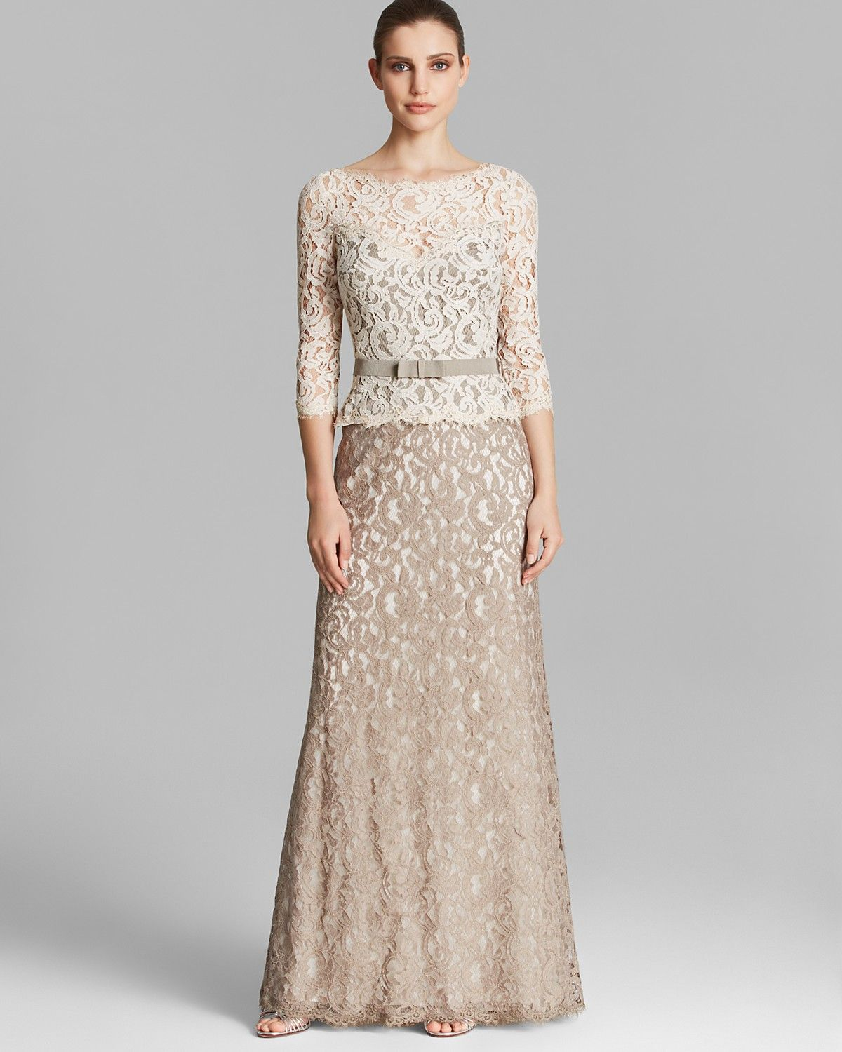 Tadashi Shoji Gown - Three Quarter Sleeve Lace Belted ...