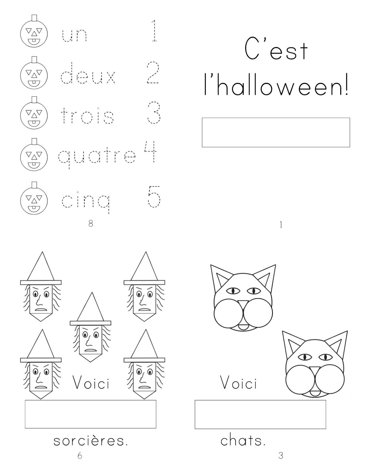 french halloween mini book for students to complete number words automne formes halloween. Black Bedroom Furniture Sets. Home Design Ideas