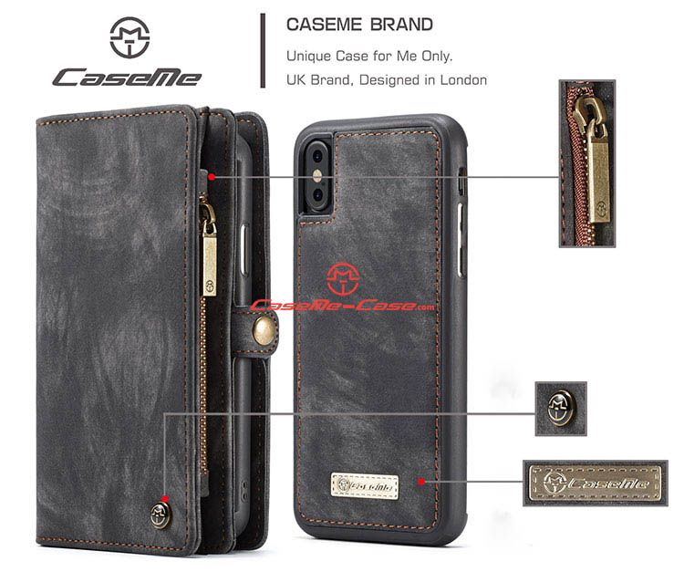 Caseme iphone x detachable zipper wallet folio