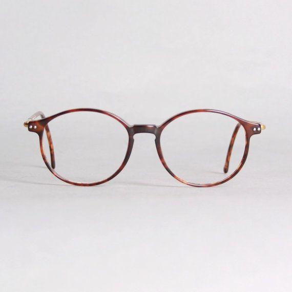 4d379db4fb0 Vintage 80s ARMANI GLASSES Frames   Thin Tortoise Eyeglasses with Gold Logo  Trim