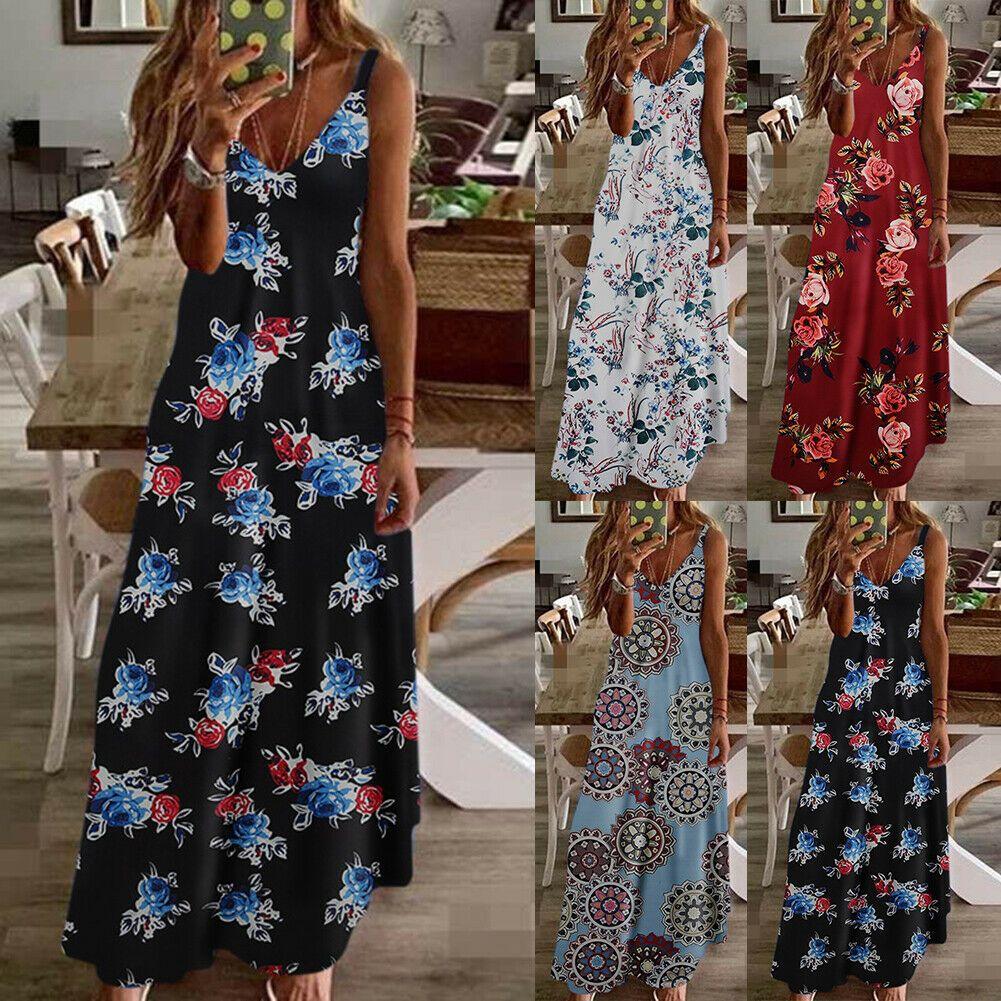 damen kleid sommerkleid sommer lang boho Ärmellos party