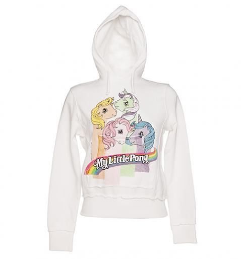 WANNNNNT! Ladies Sugar White My Little Pony Stripes Hoodie from TruffleShuffle xoxo- This is My Little Pony, Not those mutated rejects that are trying to pass as equines now.