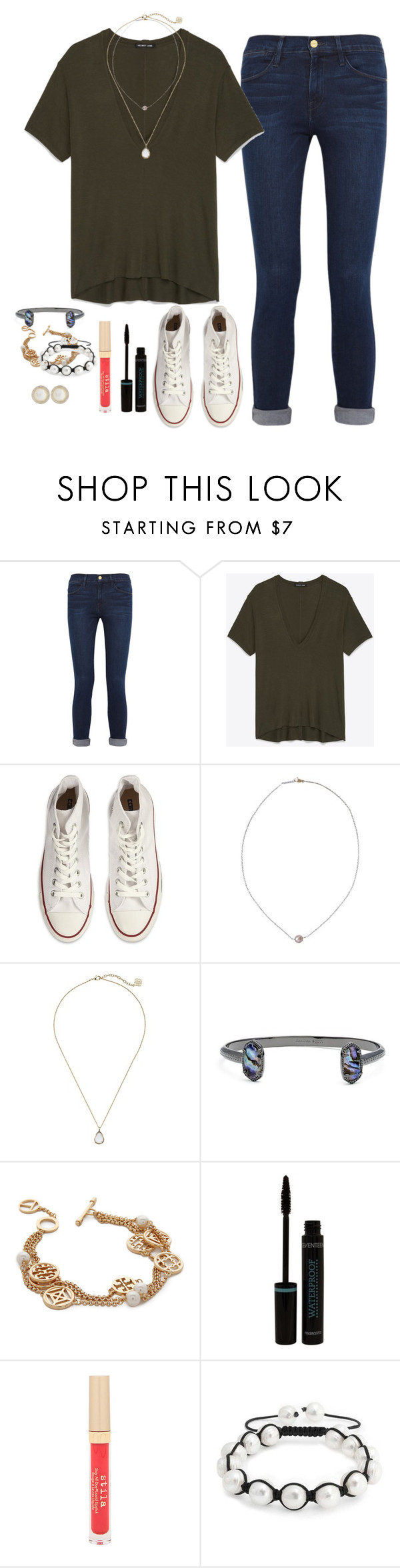 """Just got asked out"" by oliveee-heinzzz ❤ liked on Polyvore featuring Frame Denim, Helmut Lang, Converse, Karapetyan, Kendra Scott, Tory Burch, Stila, Bling Jewelry and Ippolita"