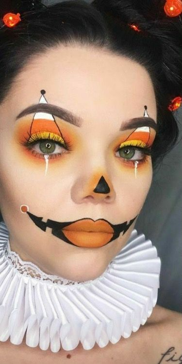 Halloween Ideas 2019 Makeup.Candy Corn Clown Makeup Halloween In 2019 Halloween