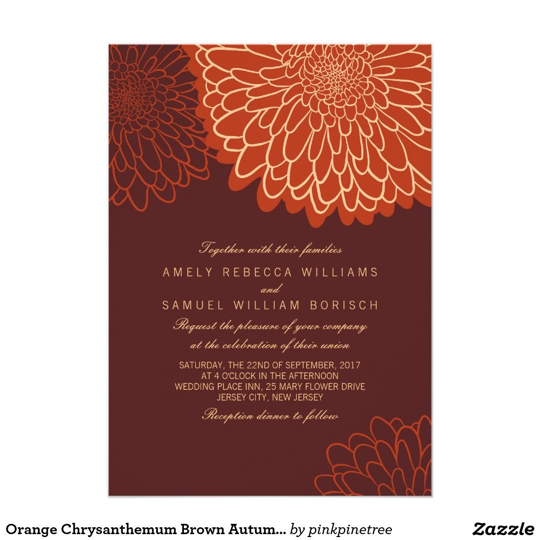Orange Chrysanthemum Brown Autumn Wedding Invite | { Flowery Wedding ...