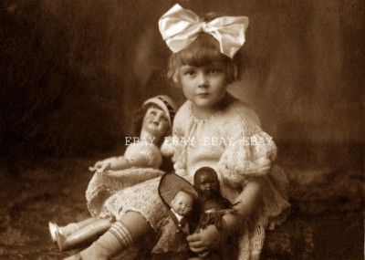 Photo 1900's Girl and Her Doll Collection with RARE Black Doll | eBay