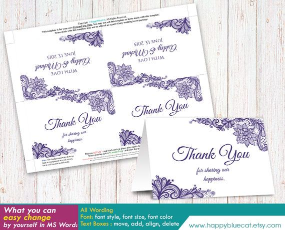DiY Thank You Cards Wedding Template - Instant Download - EDITABLE - microsoft word thank you card template
