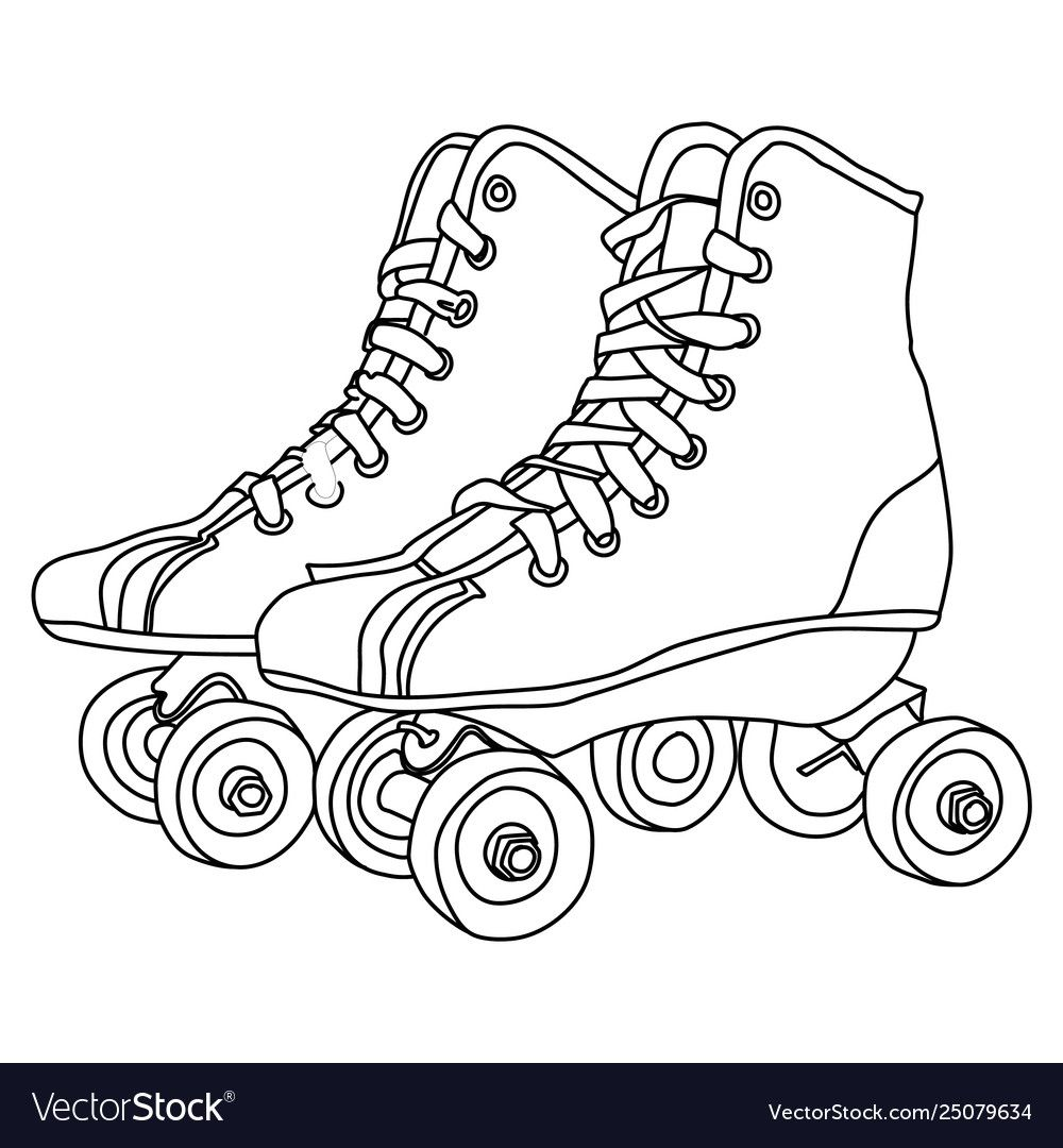 Roller Skates Line Drawing Vector Image On Vectorstock In 2020 Drawings Cute Canvas Paintings Cow Print Wallpaper