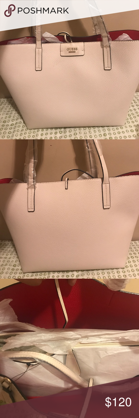 a6d3f8371f19 Guess Reversible Bobby Tote Tan multi colored tote