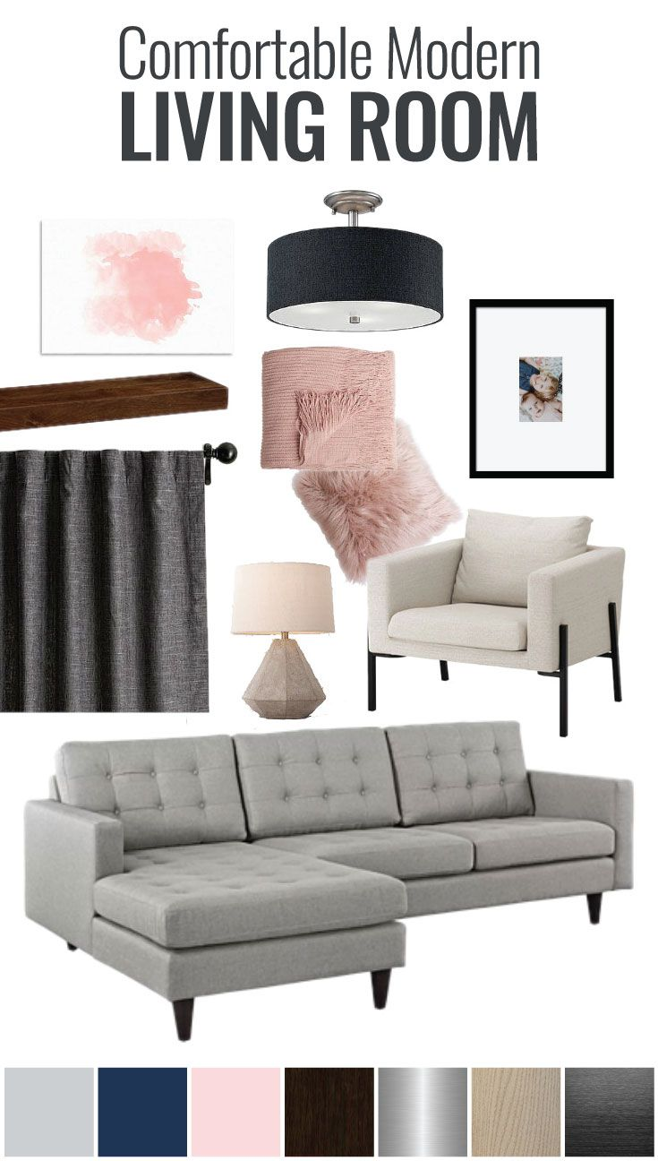 Deco Salon Gris Rose Blanc comfortable modern living room mood board | family room