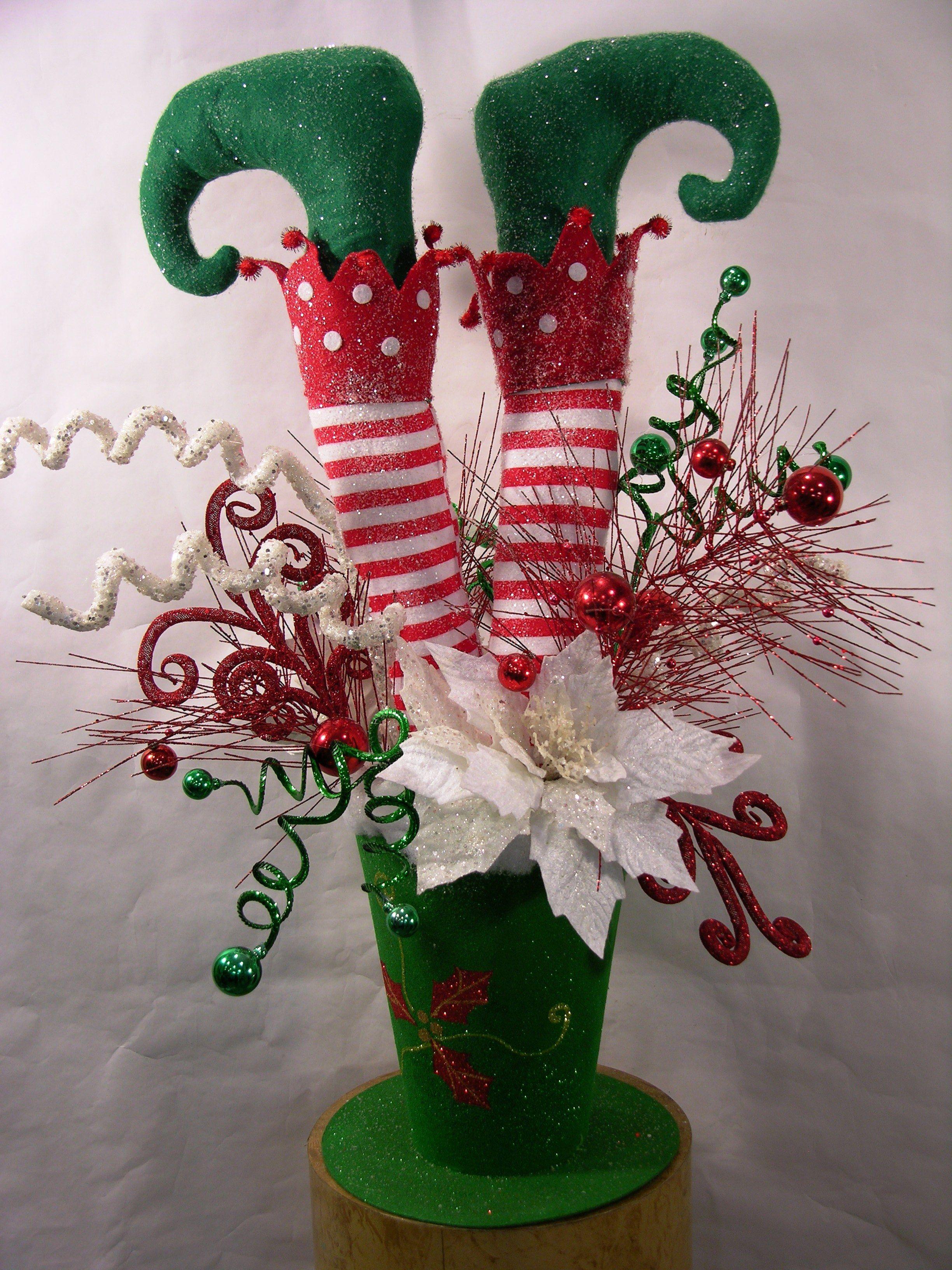 How to make a christmas elf decoration - Elf In Hat Christmas Arrangement Elf Centerpieceschristmas Centerpieceschristmas Elf Decorationsdiy