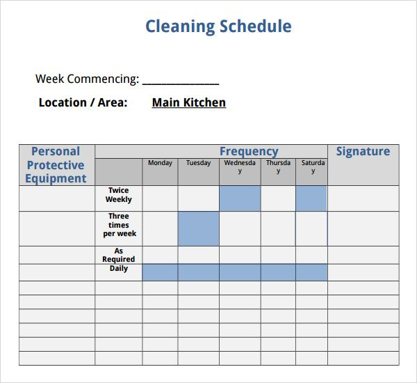 House Cleaning Schedule Template  Outside Spaces