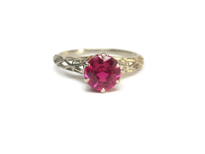 Vintage 1930s White Gold Filigree 1 Carat 14k Ruby Engagement Ring Size 8  Deakin & Francis