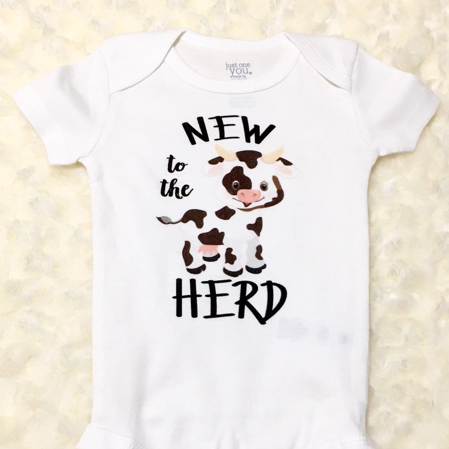 Funny Baby Onesie ® New To The Herd Cute Farm Animal Cow ...