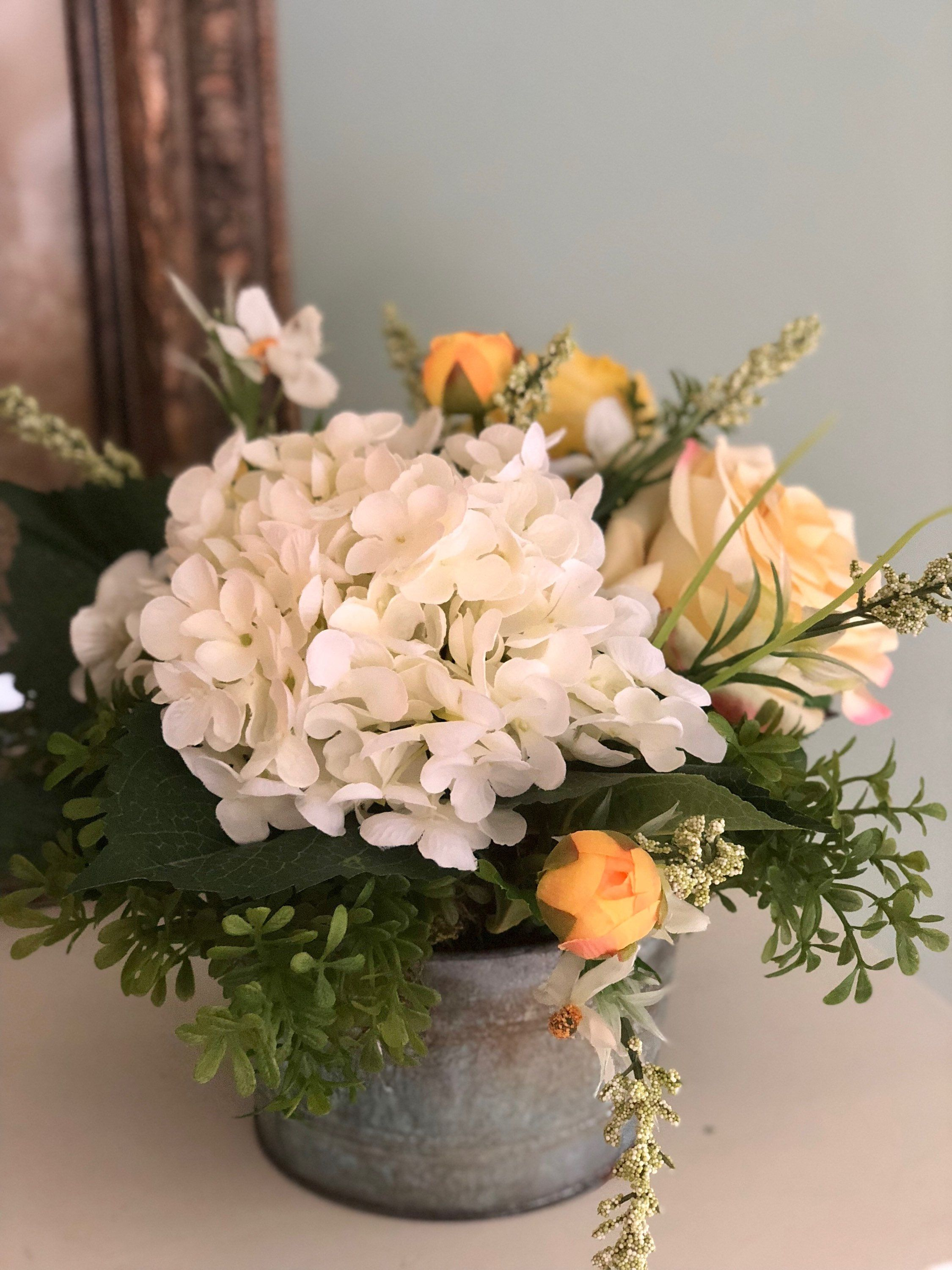 The Gloria Farmhouse Summer Centerpiece For Table Cottage Decor Hydrangea And Real T Dining Room Table Centerpieces Summer Centerpieces Cottage Decor Farmhouse