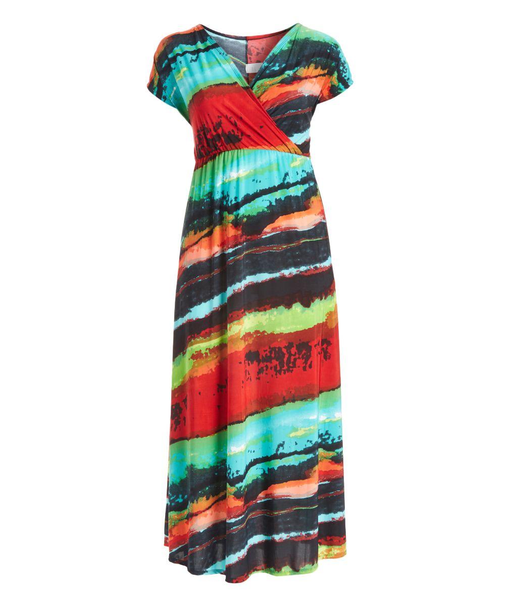 Aqua & Orange Abstract Surplice Maxi Dress - Plus