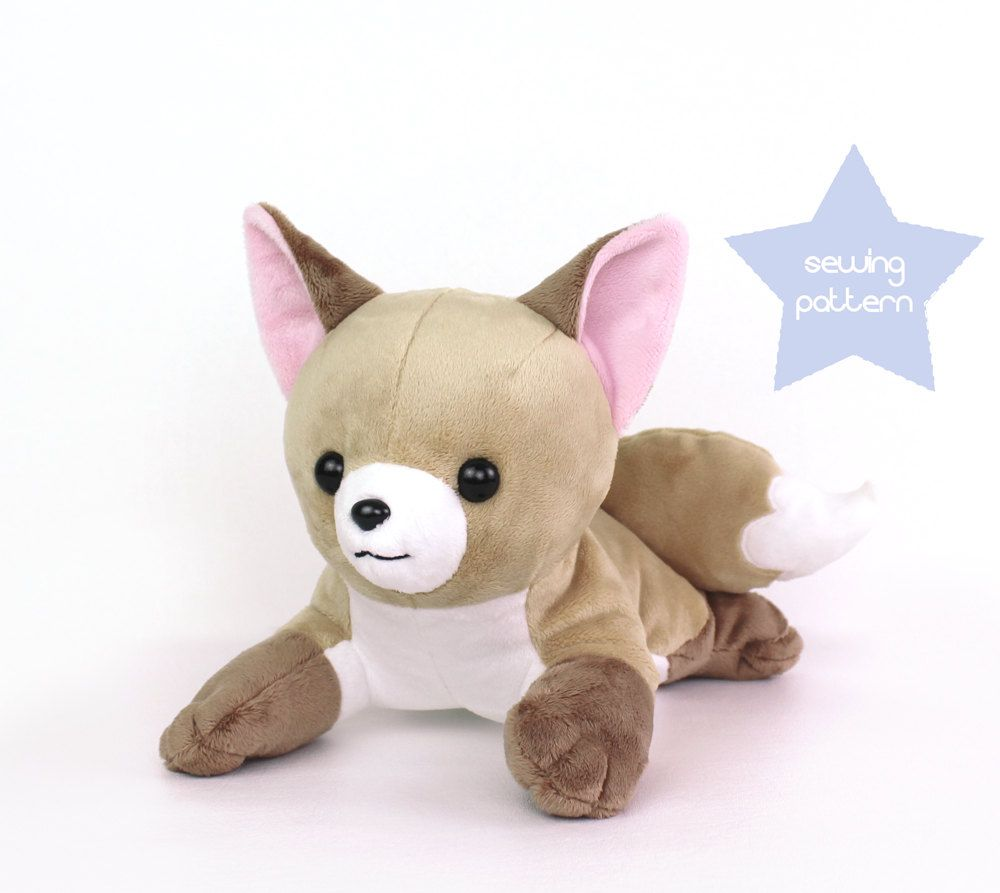 PDF sewing pattern - Fox stuffed animal - laying dog wolf Vulpix ...