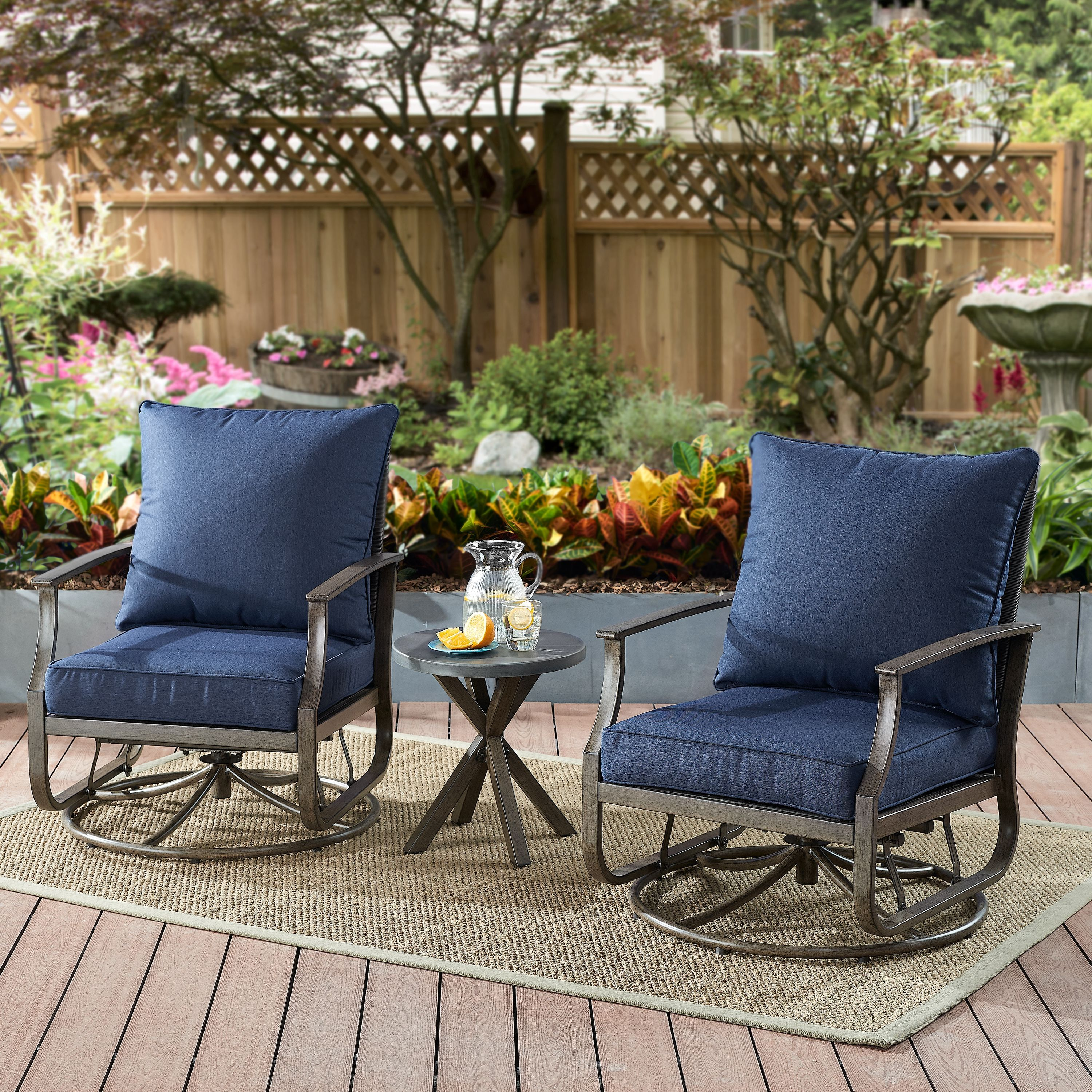 Better Homes Gardens Chauncey 3 Piece Patio Chat Set With Navy Cushions Walmart Com In 2020 Patio Furniture Sets Patio Set Better Homes Gardens