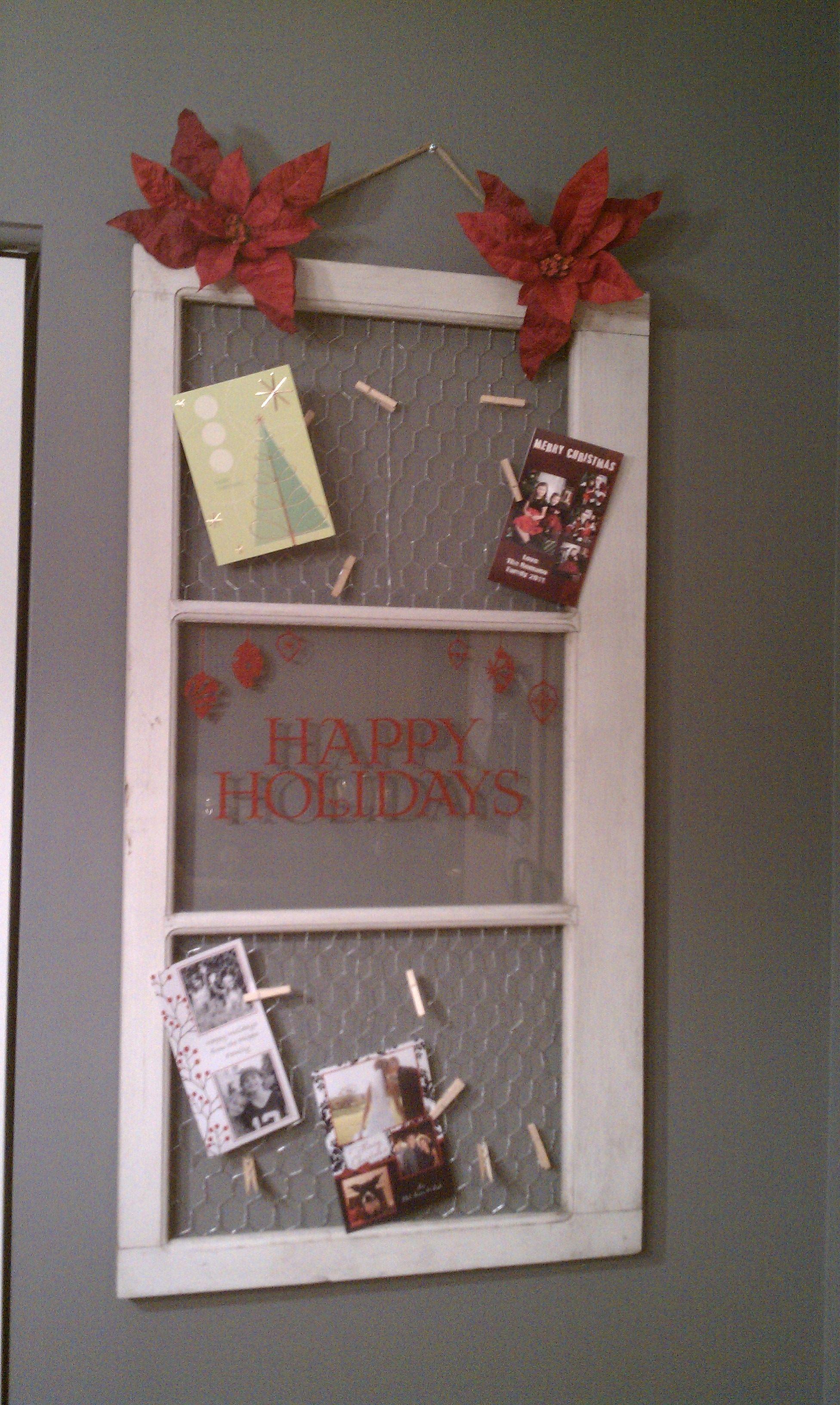 DIY bulletin board. Love the chicken wire & old window look. Really ...