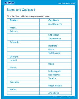 States and Capitals 1 - Free Social Studies Worksheet for Fifth ...