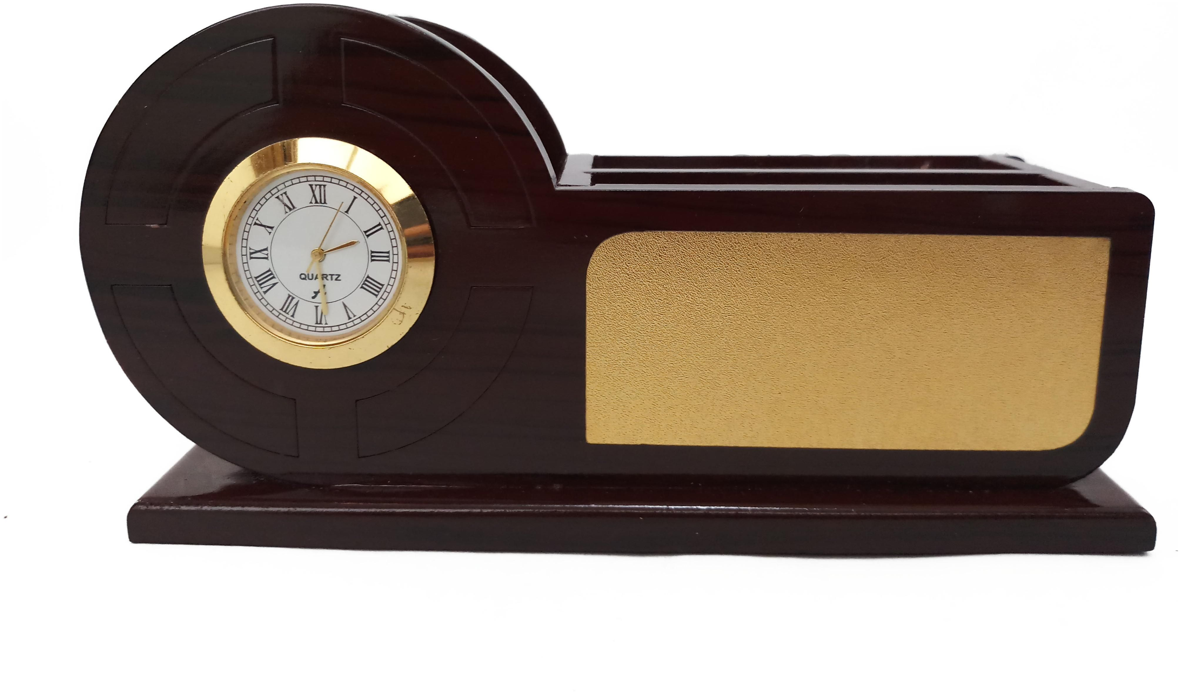 Buy Aromora Stylish Wooden Pen Stand With Clock Table Accessories All In One Multipurpose Desk Organizer Brown Online At Low Prices In India Paytmmall Com Table Clock Wooden Pen Desk Organization