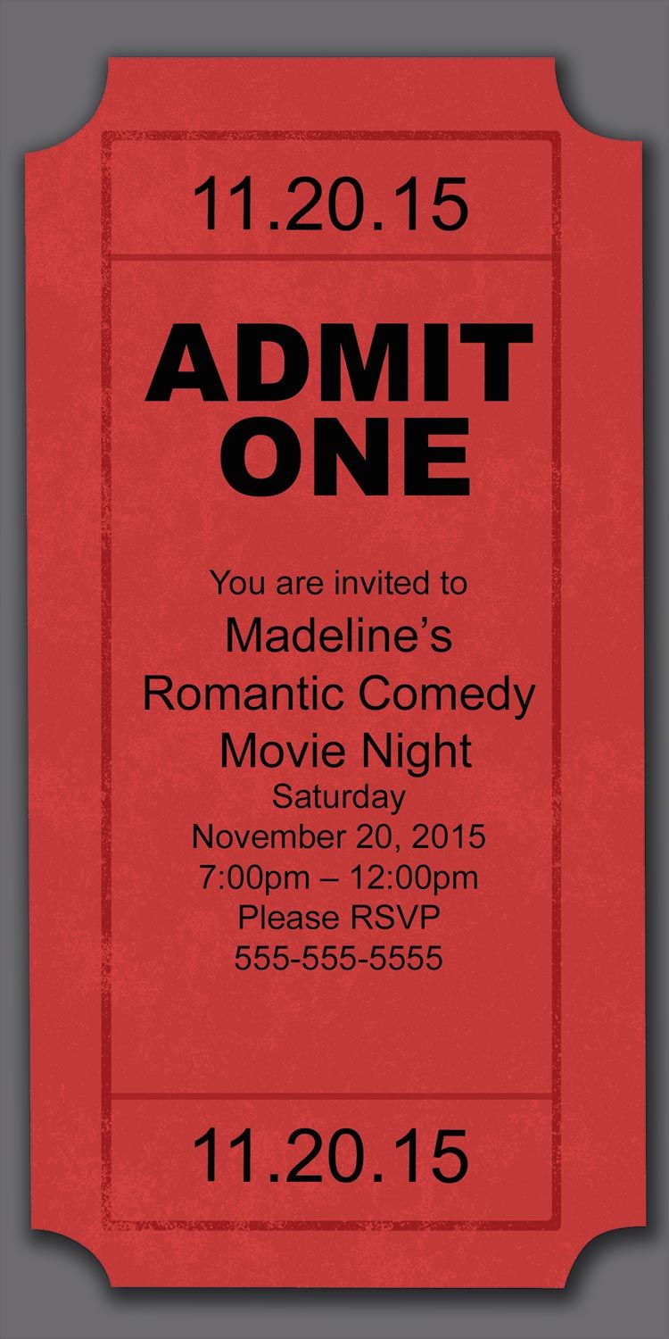 Movie Night Party Invitation | Night parties, Party invitations and ...