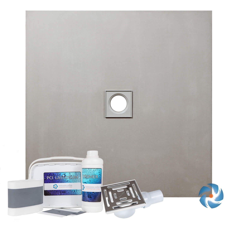 Wet Room Walk In Shower Tray Kit Centre Drain 800 X 800 X 20mm