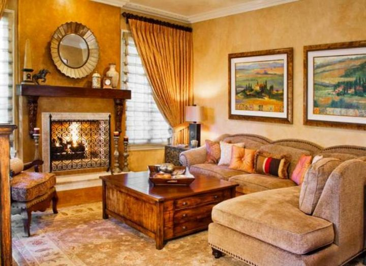 tuscan living room colors in soft beige and yellow hue | couch