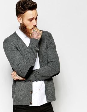 Asos Lambswool Rich Cardigan With Elbow Patches - Charcoal on shopstyle.com