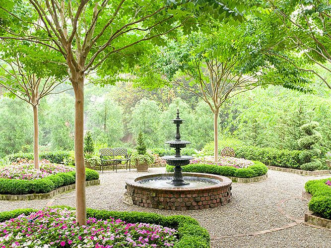 This lush courtyard garden includes potted Japanese dwarf ...   Nursery Courtyard