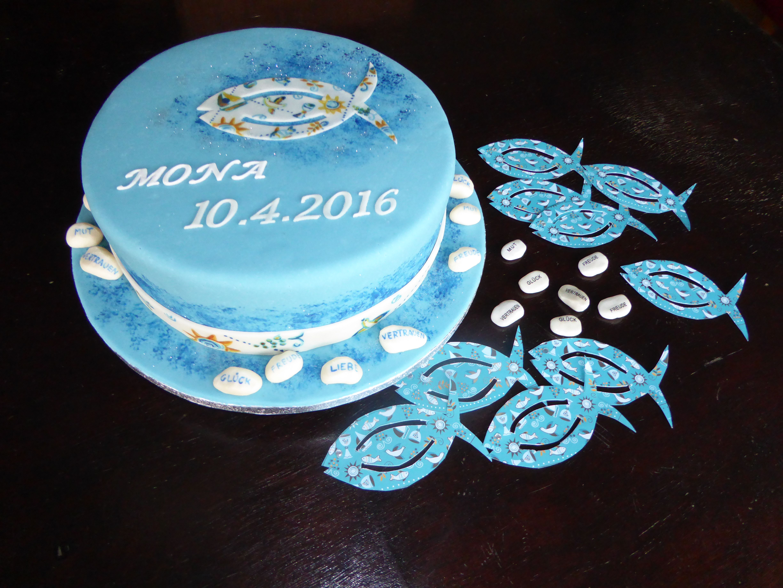 Fondant Torte zur Konfirmation passend zur Tischdeko Fisch und Steine  Fondant Cake for