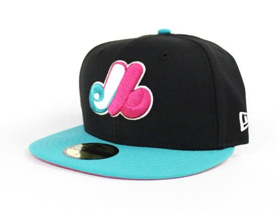 Montreal Expos New Era 59Fifty Fitted Hats (South Beach Color way Black  Teal Magenta) 450d3761d2d