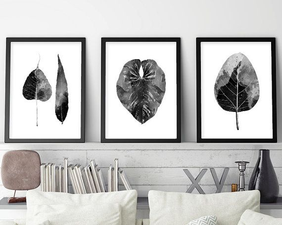Set of 3 prints minimalist poster scandinavian scandinavian modern print set black white scandinavian leaves downloadable prints