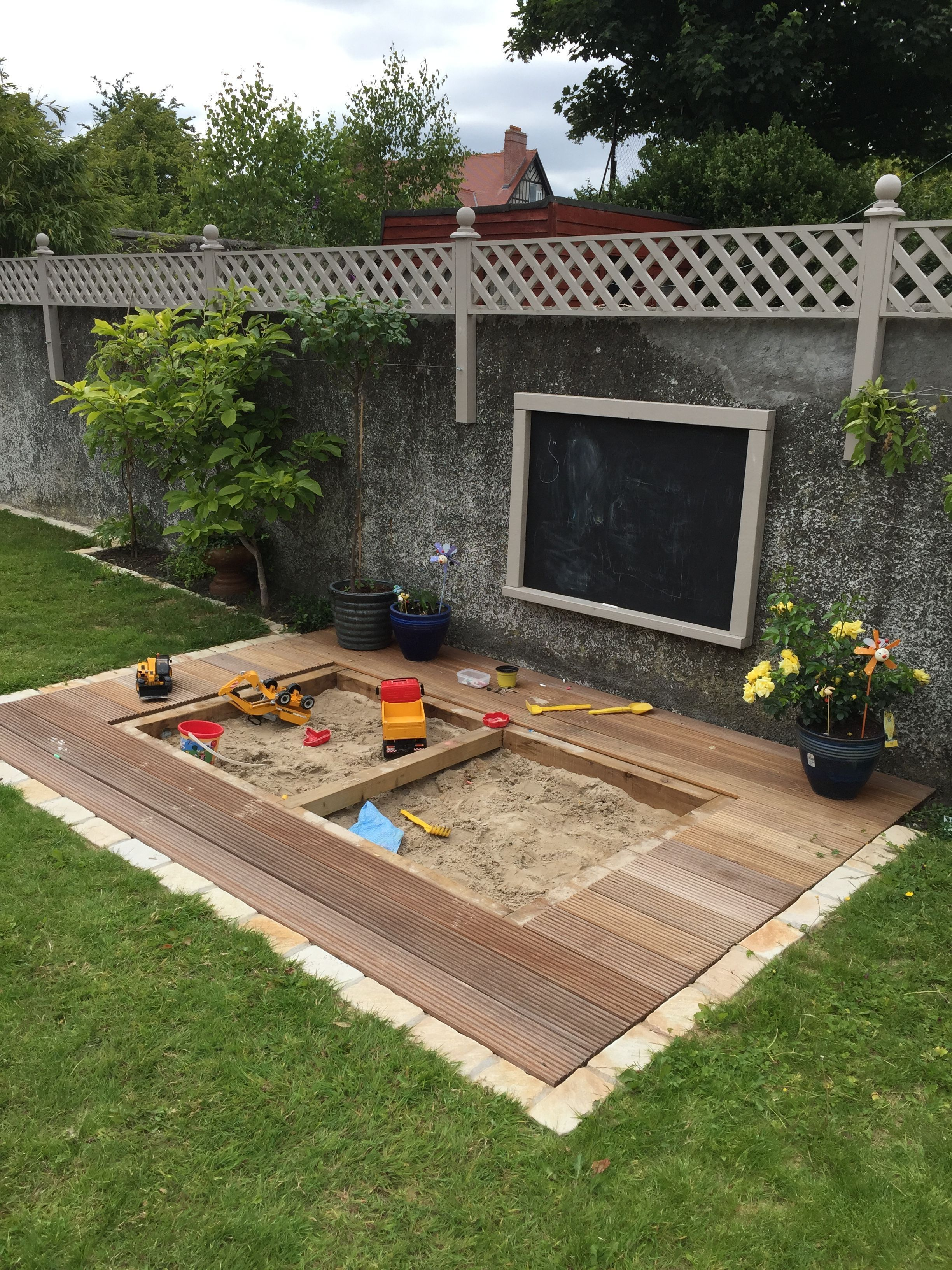 finished article - sandpit in deck #buildplayhouse #diyplayhouse