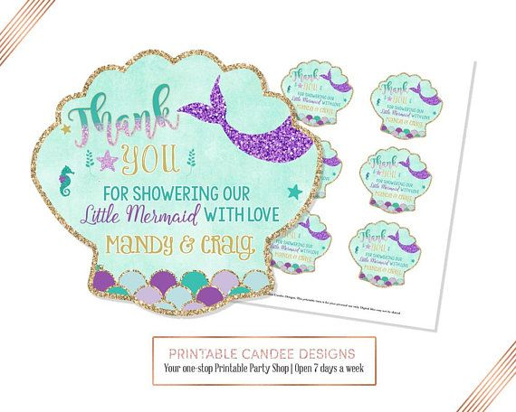 Mermaid Baby Shower Favor Tags Under The Sea Gift Tags Mermaid