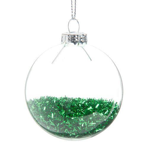 Pallina natalizia verde in vetro D 6 cm PLUIE DE PAILLETTES