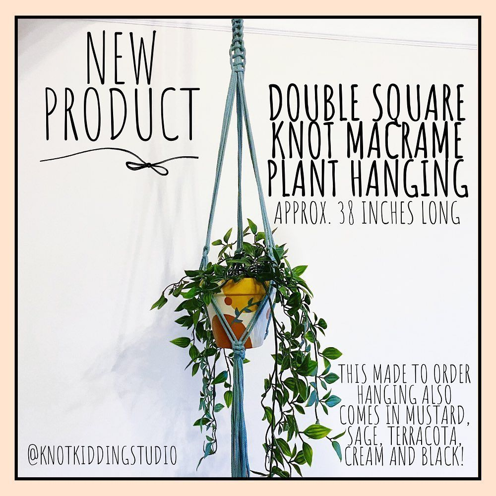 This 'Double Square Knot Macrame Plant Hanging' is the perfect addition to any home! Made to order this piece comes in various colours. Grab yours on my ETSY launch day or private message me for more details. ➰🍃 • • •  #macrame #handmade #macramewallhanging #macramelove #macram #homedecor #macramemakers #bohostyle #macrameart #handmadejewelry #modernmacrame #macramejewelry #boho #macrameplanthanger #hechoamano #macramecommunity #macrameartist #macramemovement #fiberart #micromacrame #macrameind