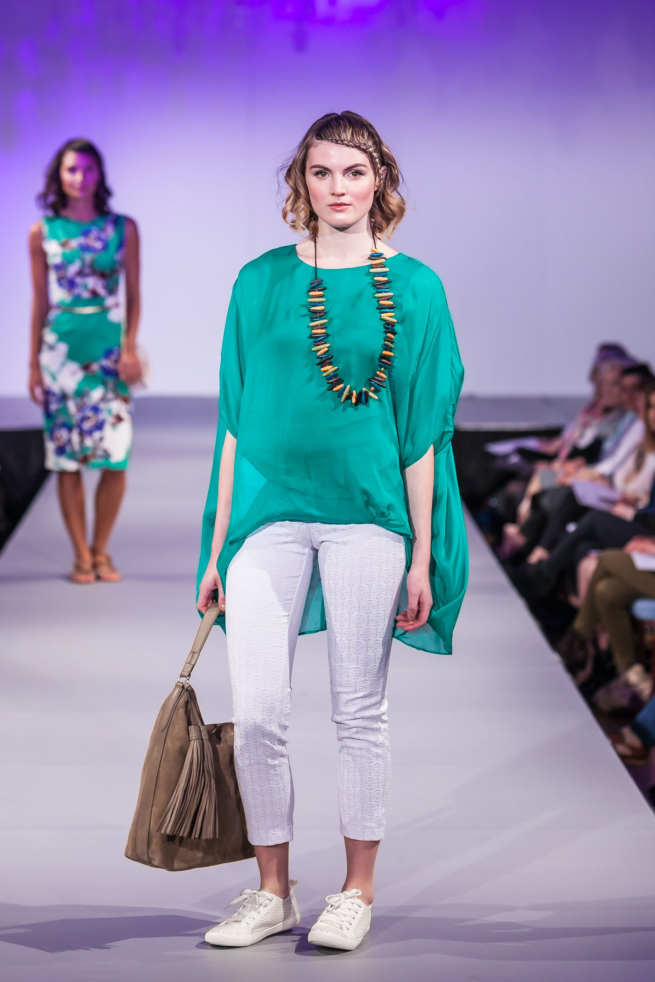 c0a15e38fa930 Phase Eight at Bath In Fashion catwalk 2016. Layla oversized silk blouse  emerald